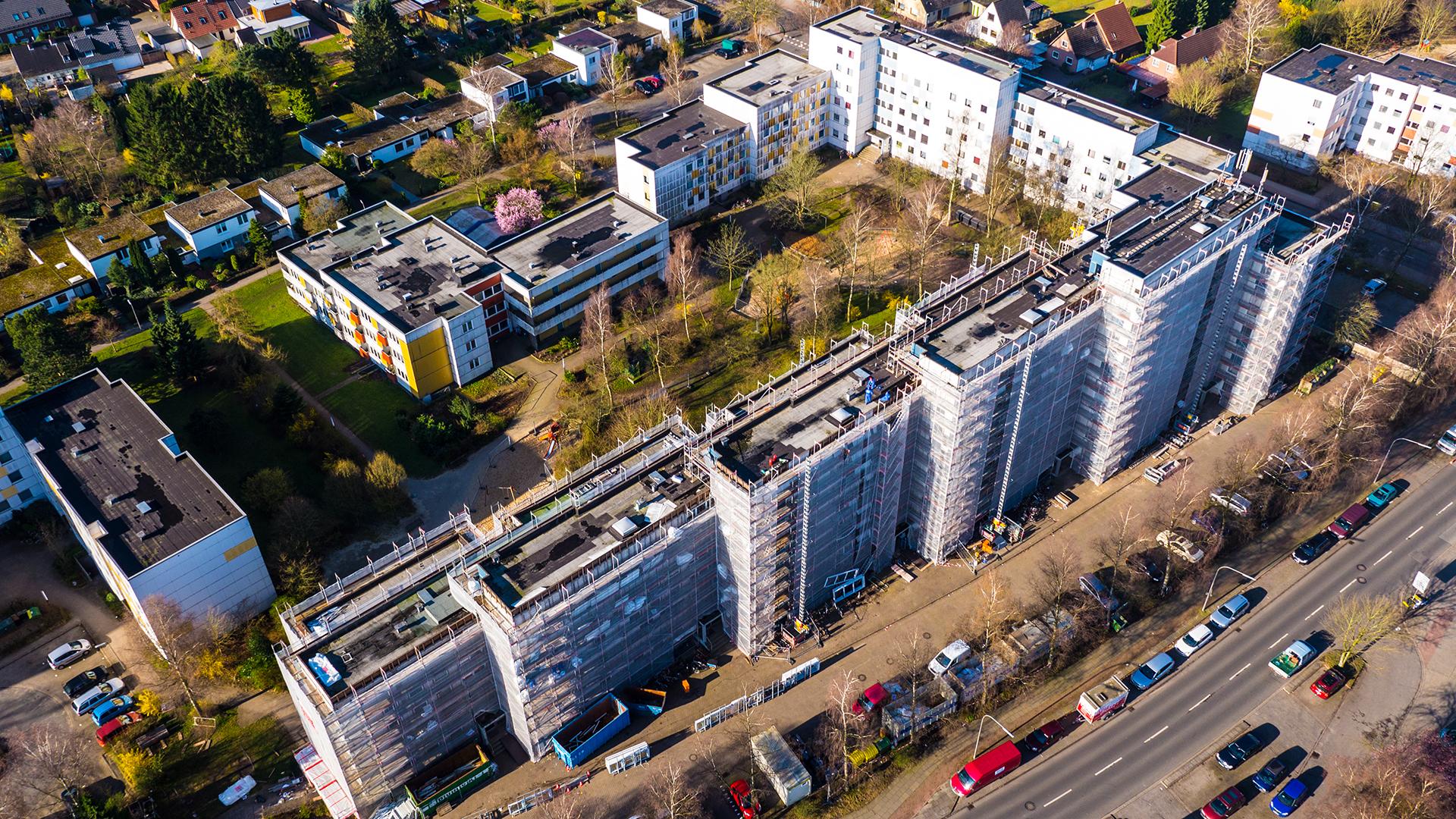 Bauarbeiten an einer Wohnanlage in Norderstedt